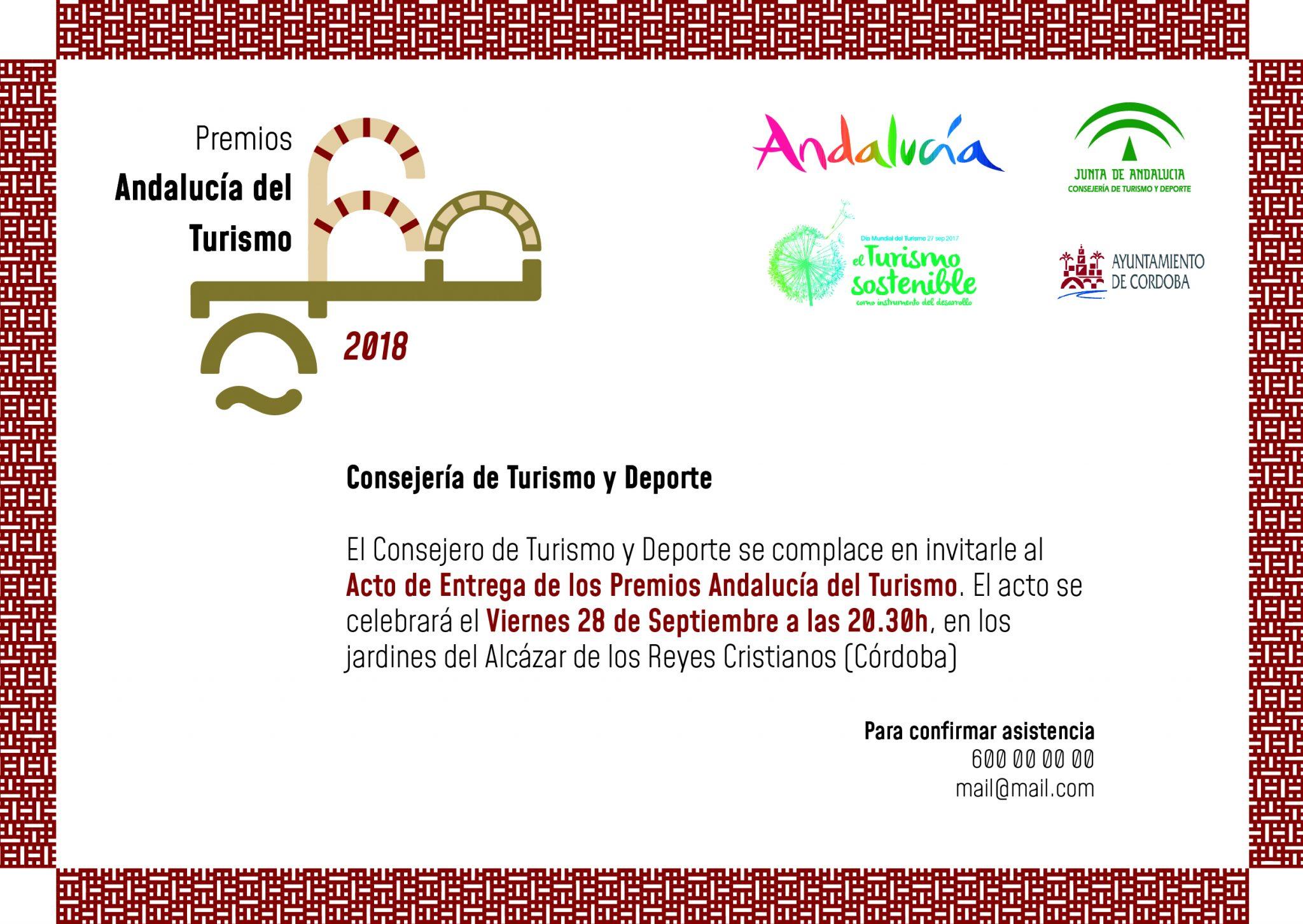 Invitación Premios Andalucía Turismo 18